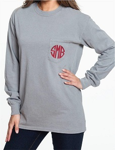 CC Long Sleeve Pocket Tee with Monogram